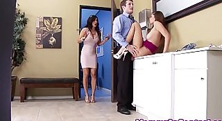 Busty stepmom in bathroom stall threeway