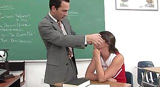 cute cheerleader facialized by her professor