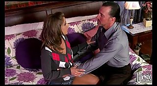 Horny young slutty brunette babysitter convinces husband to cheat