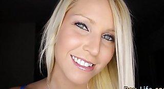 Blonde teen guzzles pov